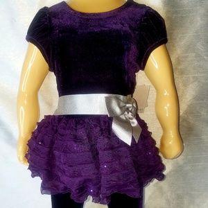 Bonnie baby 12mos 2 piece dark purple velvet set